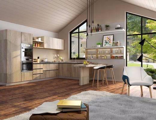 现代厨房, 北欧厨房, 橱柜, 厨具, 吊灯, 吧台, 餐桌, 椅子