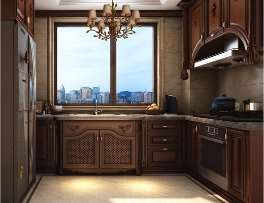 欧式, 厨房, 橱柜