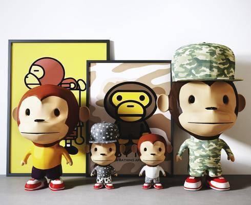 大嘴猴, 玩具玩偶, 装饰摆件, 儿童玩具, 现代