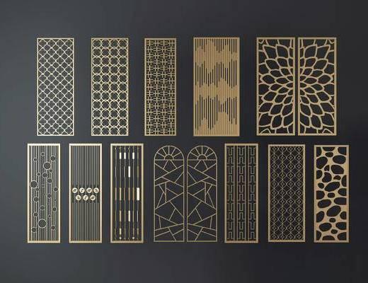隔断, 屏风, 新中式, 中式, 金属