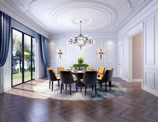 餐厅, 餐桌, 餐椅, 单人椅, 吊灯, 壁灯, 摆件, 装饰品, 陈设品, 欧式