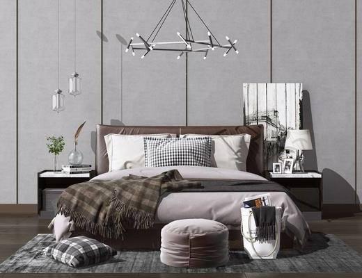 床头柜, 床具组合, 吊灯, 双人床