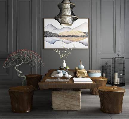 茶桌组合, 茶具, 凳子, 装饰画, 花卉, 吊灯, 鸟笼, 挂画, 新中式