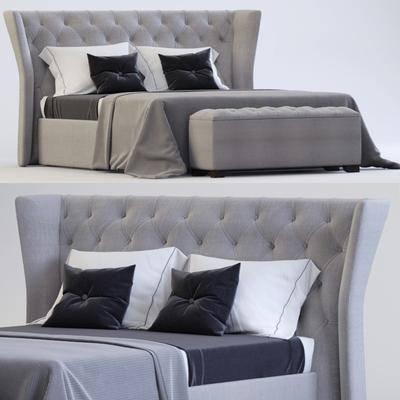 双人床, 床具, 床, 现代, 脚踏