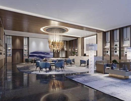 售楼处, 洽谈区, 新中式售楼处, 沙发组合, 茶几, 摆件组合, 前台, 吊灯