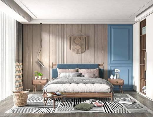 双人床, 墙饰, 床头柜, 衣柜, 地毯