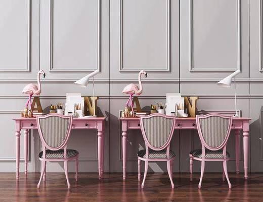 桌椅组合, 书桌, 简欧