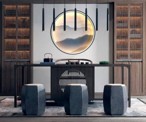 书房, 书桌, 单人椅, 吊灯, 凳子, 装饰柜, 茶具, 装饰品, 陈设品, 新中式