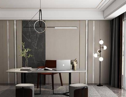 书桌, 书房, 吊灯, 落地灯, 窗帘