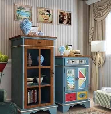 餐边柜, 装饰柜, 边柜, 摆件, 地中海, 落地灯, 装饰品, 陈设品