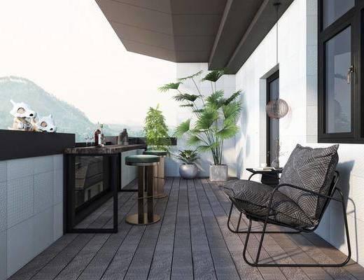 现代, 花园, 家装