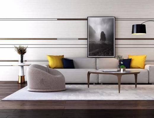 沙发组合, 多人沙发, 落地灯, 单人沙发, 边几, 装饰品, 陈设品, 风景画, 装饰画, 挂画, 花瓶花卉, 现代