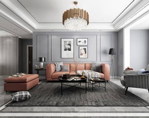 现代客厅, 现代沙发, 现代吊灯, 客厅, 沙发, 吊灯, 壁灯, 电视柜, 电视, 盆栽, 挂画, 落地灯