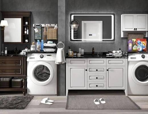 洗衣机, 卫浴, 配件组合, 浴柜, 洗手盆, 壁镜