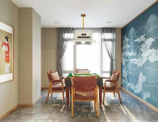 棋牌室, 娱乐室, 吊灯, 装饰画, 麻将桌