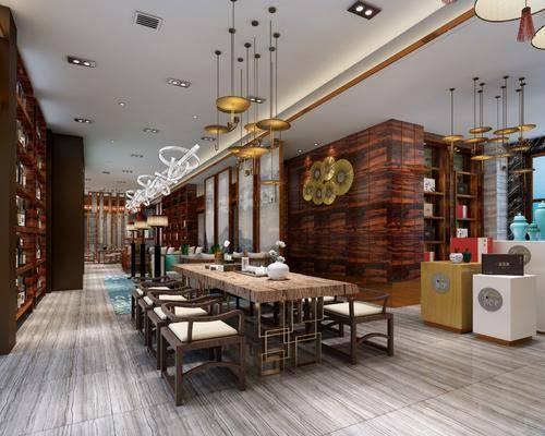 新中式茶馆, 茶楼, 茶馆, 桌椅组合, 茶具, 置物柜, 摆件, 吊灯, 前台, 收银台, 单椅, 桌椅, 墙饰, 新中式