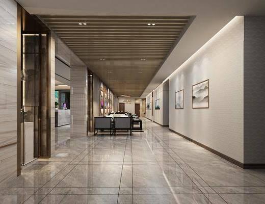 售楼处, 洽谈区, 售楼海报, 多人沙发, 边几, 单人沙发, 前台, 吊灯, 装饰画, 挂画, 壁画, 现代