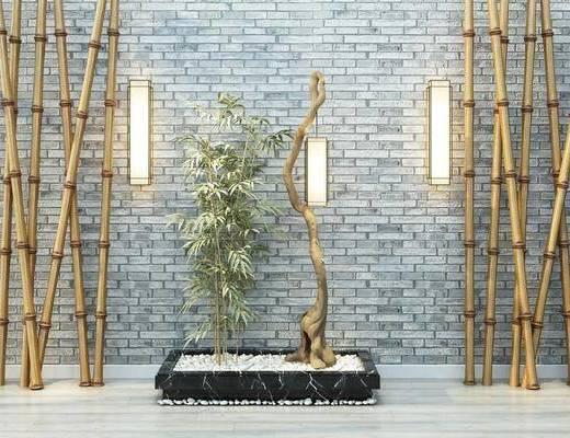 花园庭院, 园艺小品, 壁灯, 竹子, 干枝, 新中式