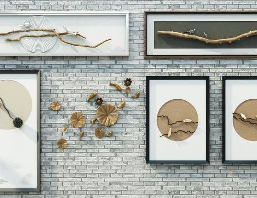 墙饰, 挂画组合, 新中式