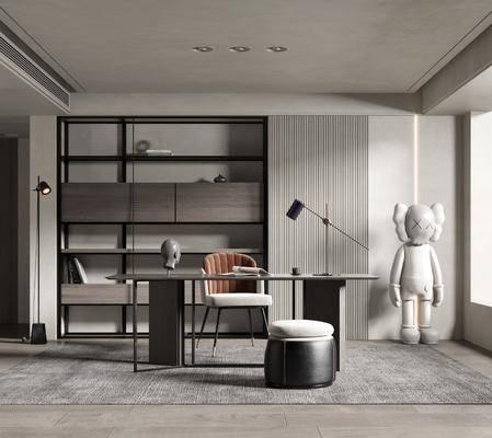 书桌, 桌椅组合, 落地灯, 摆件组合, 书架