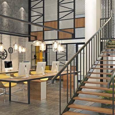 办公区, 办公桌, 电脑, 单人椅, 办公椅, 吊灯, 楼梯, 装饰架, 墙饰, 装饰品, 陈设品, 盆栽, 绿植, 植物, 工业风