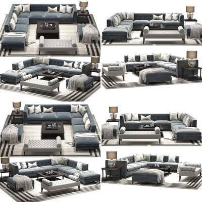 转角沙发, 脚踏, 沙发凳, 茶几, 边几, 装饰灯, 地毯, 沙发组合, 沙发茶几组合, 现代