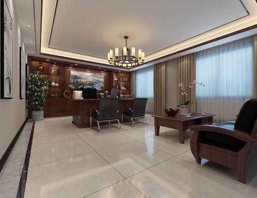 大班台, 办公室, 办公桌, 吊灯, 背景墙, 窗帘