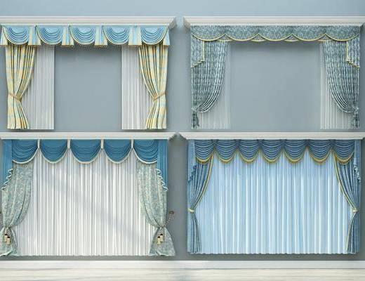 窗帘组合, 美式