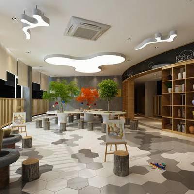 现代, 图书馆, 书柜, 书架, 书籍, 书本, 桌子, 凳, 画板, 植物