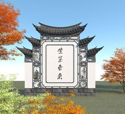 三滴水照壁, 影壁墙, 古代萧墙, 景观小品, 树木, 中式