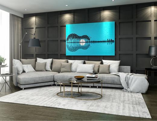 现代转角沙发, 客厅, 茶几