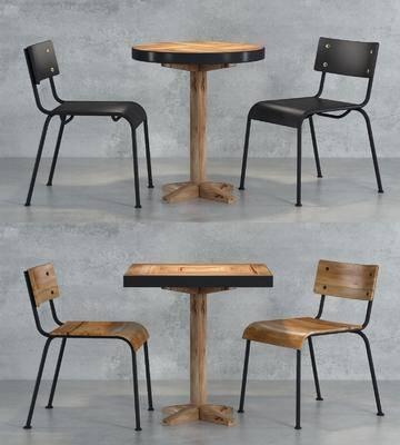 桌椅组合, 餐桌, 餐椅, 单人椅, 工业风