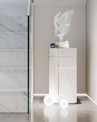 现代, 楼梯间, 雕塑