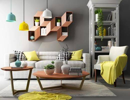 多人沙发, 茶几, 单人沙发, 吊灯, 墙饰, 书柜, 装饰柜, 装饰架, 书架, 书籍, 摆件, 装饰品, 陈设品, 北欧
