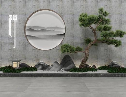 景观小品, 园艺小品, 树木, 绿植植物, 新中式