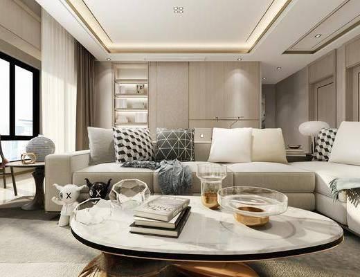 客廳, 沙發茶幾組合, 臺燈, 擺件組合, 現代