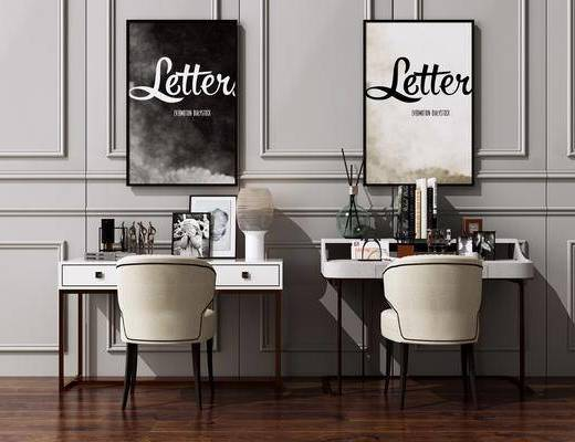 书桌, 电脑桌, 装饰画, 桌椅组合, 写字桌