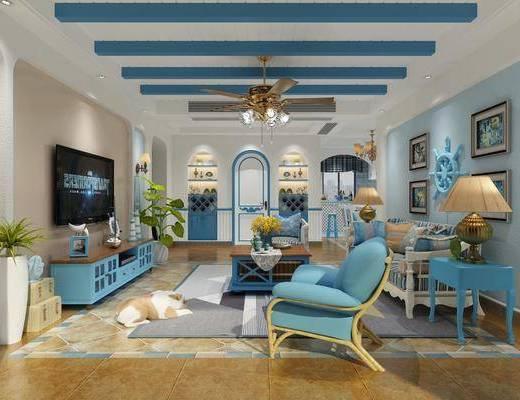 地中海, 多人沙发, 单人沙发, 茶几, 边几, 吊灯, 风扇, 台灯, 挂画, 电柜, 餐桌椅