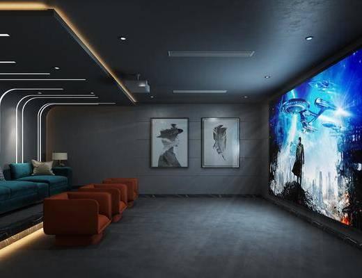 影音室, 沙发组合, 装饰画组合, 单椅
