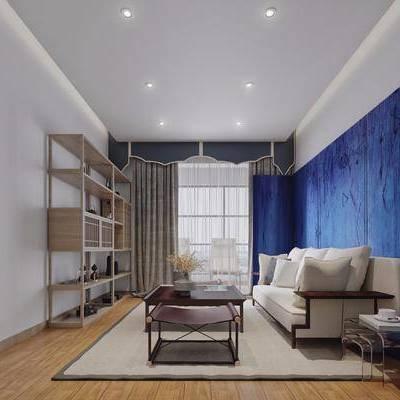 客厅, 多人沙发, 新中式, 茶几, 置物架, 雕塑, 摆件