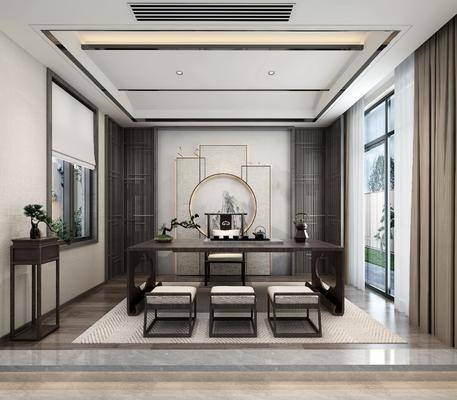 茶室, 茶桌, 单人椅, 茶具, 盆栽, 绿植, 装饰架, 新中式