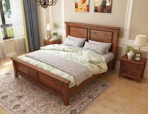 实木床, 双人床, 床头柜, 台灯, 装饰画, 挂画, 吊灯, 美式