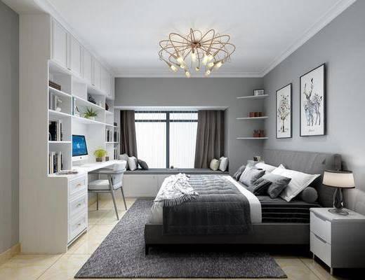 现代, 客厅, 餐厅, 卧室, 厨房, 套房