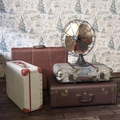 旅行箱, 风扇, 复古摆件, 皮箱, 行李箱, 现代