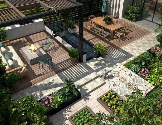 新中式, 庭院, 花�@, �B瞰