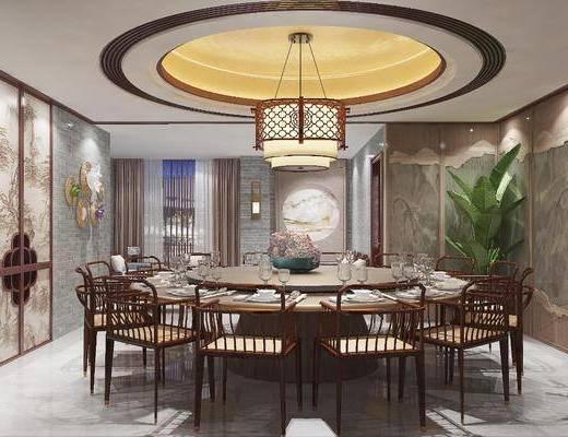新中式餐厅, 餐桌, 吊灯