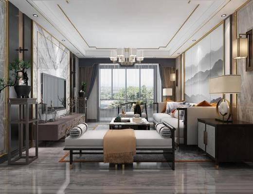 新中式, 客廳, 沙發組合