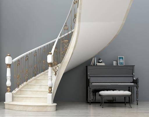 旋转楼梯, 楼梯, 钢琴, ?#39318;? 钢琴组合, 栏杆, 欧式