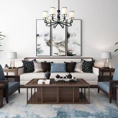 新中式沙发茶几装饰画吊灯地毯组合, 新中式, 沙发组合, 植物, 茶几, 中式装饰画, 中式吊灯