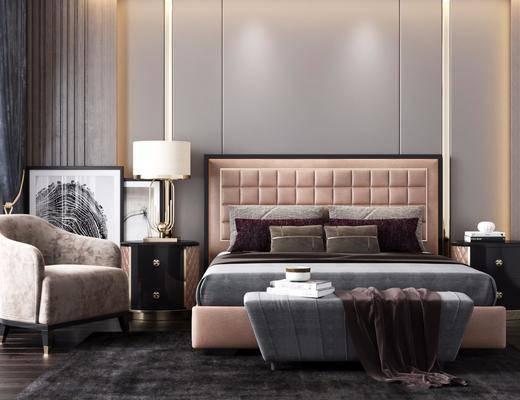 床具组合, 单椅, 吊灯